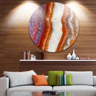 Designart Colorful Stone Stripes Abstract Circle Metal Wall Art