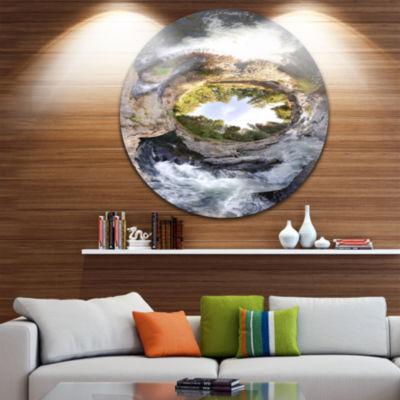 Designart Wild River Tube Landscape Photography Circle Metal Wall Art