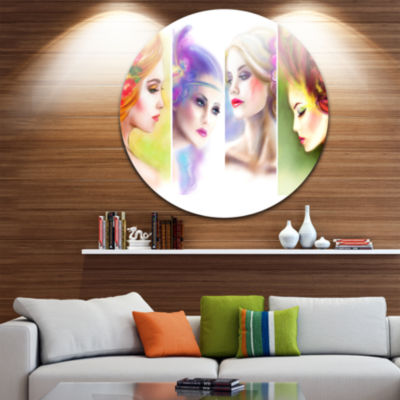 Designart Colorful Women Face Collage Abstract Portrait Circle Metal Wall Art