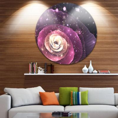 Designart Pink Flower with Sparkles Floral CircleMetal Wall Art