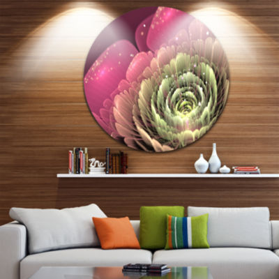 Designart Fractal Flower Pink and Green Floral Circle Metal Wall Art