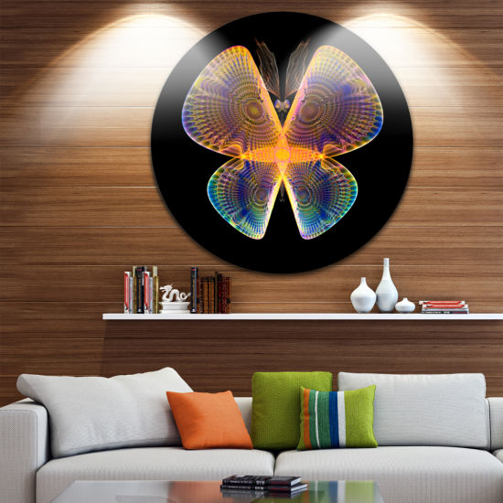 Designart Blue Yellow Fractal Butterfly in Dark Abstract Circle Metal Wall Art