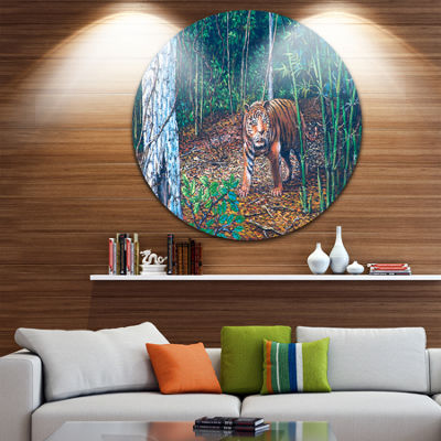 Designart Wandering Tiger in Forest Animal CircleMetal Wall Art