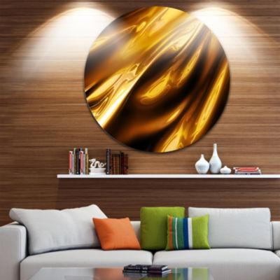 Designart Liquid Gold Texture Pattern Abstract Circle Metal Wall Art