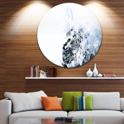 Designart 3D Abstract Art White Crystal Abstract Circle Metal Wall Art