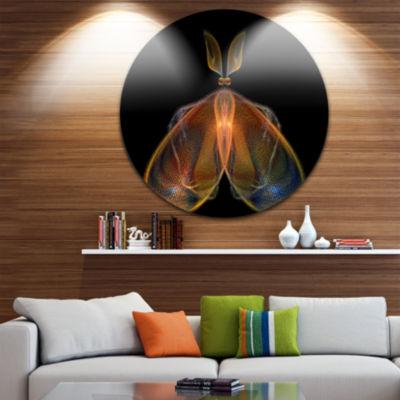 Designart Orange Fractal Butterfly in Dark Abstract Circle Metal Wall Art