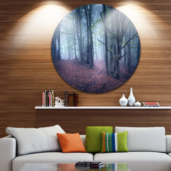 Designart Mysterious Fairytale Wood Landscape Photography Circle Metal Wall Art
