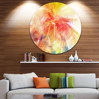 Designart Retro Palm Red Yellow Watercolor Trees Painting Circle Metal Wall Art