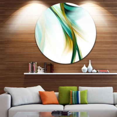 Designart Blue Gold Texture Pattern Abstract Circle Metal Wall Art