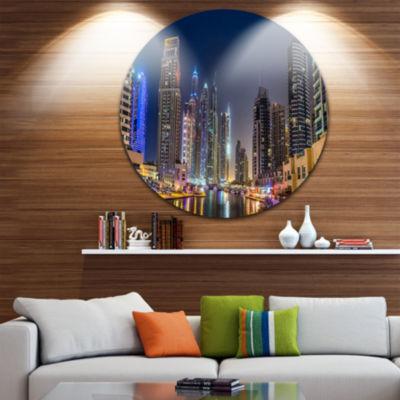 Designart Dubai Downtown in Summer Night CityscapePhoto Circle Metal Wall Art