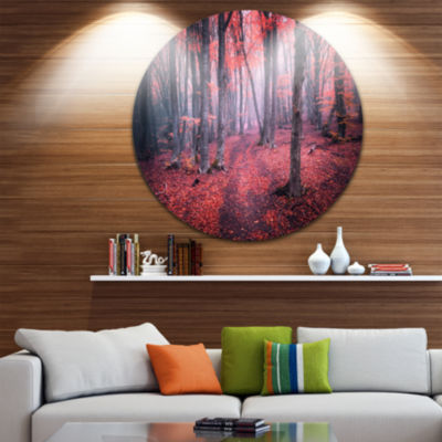Designart Mysterious Fairytale Red Wood LandscapePhotography Circle Metal Wall Art