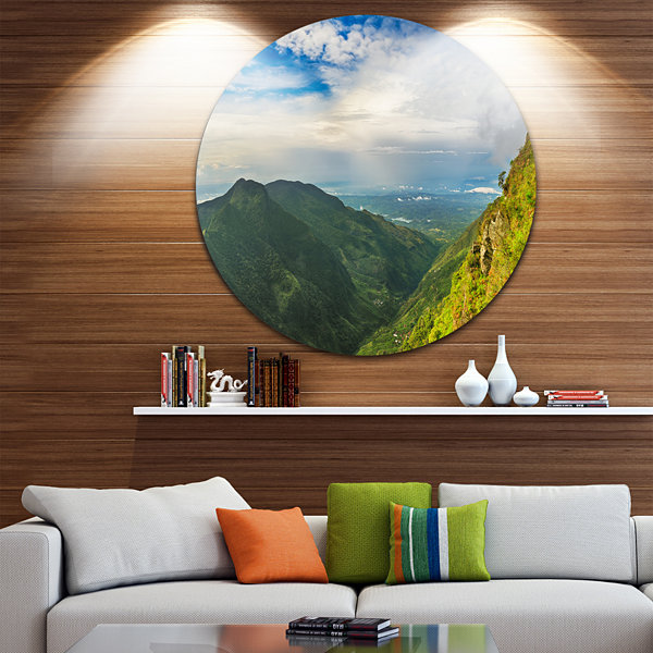 Designart Horton Plains World s End Landscape Photography Circle Metal Wall Art