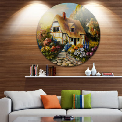 Designart Fairy House Oil Painting Landscape Painting Circle Metal Wall Art