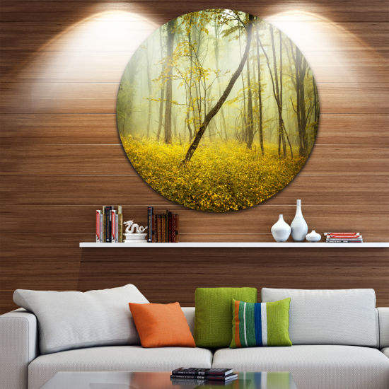Designart Forest with Yellow Flowers Landscape Photography Circle Metal Wall Art