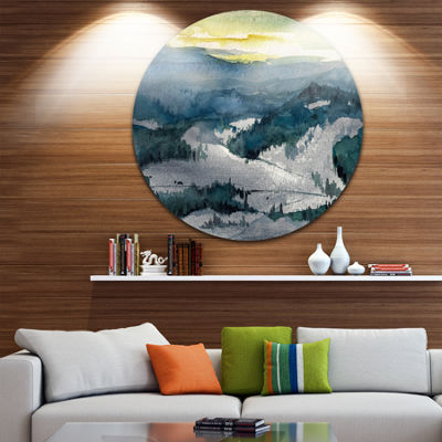 Designart Dark Mountains Watercolor Landscape Painting Circle Metal Wall Art