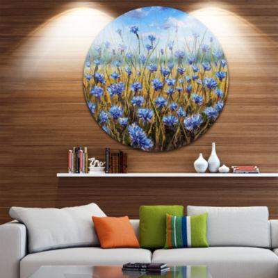 Designart Blue Flowers in Meadow Painting Floral Metal Artwork