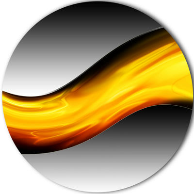 Designart Wave of Golden Lava Abstract Circle Metal Wall Art