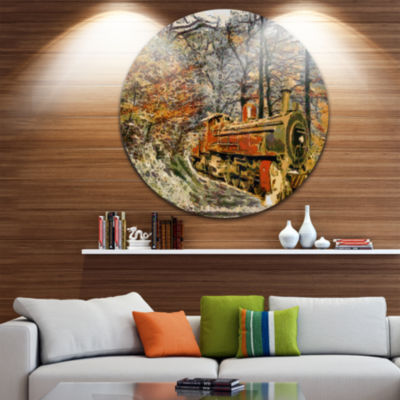 Designart Train in Forest Oil Painting Landscape Painting Circle Metal Wall Art