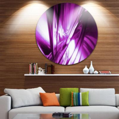 Designart 3D Abstract Art Purple Fractal AbstractCircle Metal Wall Art