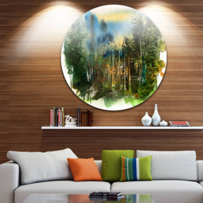 Designart Colorful Forest Watercolor Landscape Painting Circle Metal Wall Art