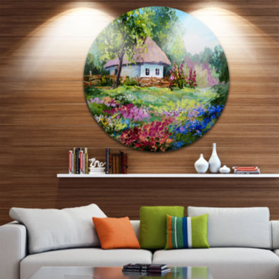 Designart House in the Village Oil Painting Landscape Circle Metal Wall Art
