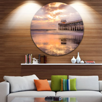 Designart Cocoa Beach Florida Landscape Photo Circle Metal Wall Art