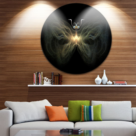 Designart Yellow Fractal Butterfly in Dark Large Contemporary Circle Metal Wall Arts