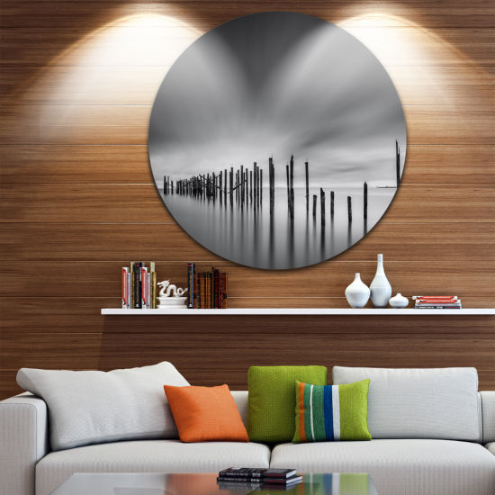Designart Sunrise Over Lower Manhattan Landscape Photography Circle Metal Wall Art