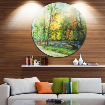 Designart Bridge in Colorful Forest Landscape Painting Circle Metal Wall Art