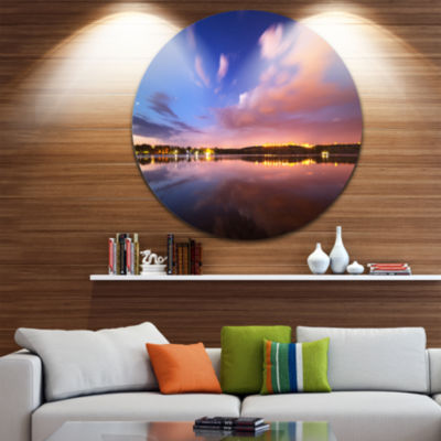 Designart Night Sky Over River with Clouds Contemporary Circle Metal Wall Art