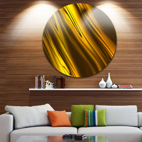 Designart Yellow Liquid Gold Design Abstract Circle Metal Wall Art