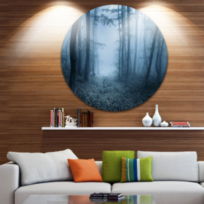 Designart Foggy Spring Forest Landscape Photography Circle Metal Wall Art
