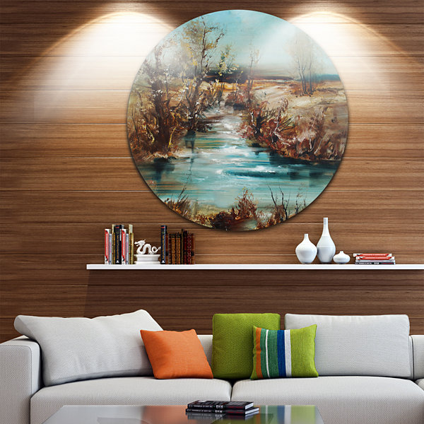 Designart Trees and Creek Oil Painting Landscape Painting Circle Metal Wall Art