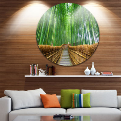 Designart Path to Bamboo Forest Landscape Photography Circle Metal Wall Art