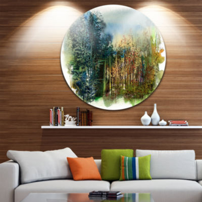 Designart Forest Motif Watercolor Landscape Painting Circle Metal Wall Art