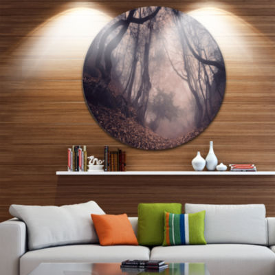 Designart Vintage Foggy Forest Trees Landscape Photography Circle Metal Wall Art