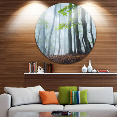 Designart Green Leaves in Old Forest Landscape Photography Circle Metal Wall Art