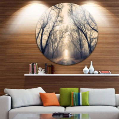 Designart Vintage Autumn Forest in Fog Landscape Photography Circle Metal Wall Art