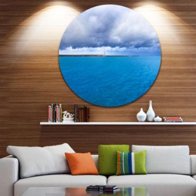 Designart Livorno Port Lighthouse Seascape CircleMetal Wall Art