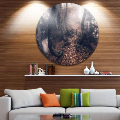 Designart Autumn Foggy Forest Trees Landscape Photography Circle Metal Wall Art