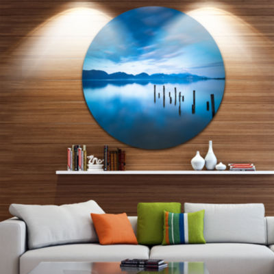 Designart Blue Lake with Wooden Pier Landscape Photography Circle Metal Wall Art