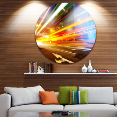 Designart Car Light Trails in Hong Kong CityscapePhoto Circle Metal Wall Art