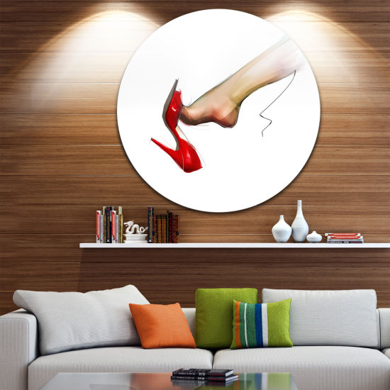 Designart Leg Wearing High Heel Red Shoe AbstractPortrait Circle Metal Wall Art
