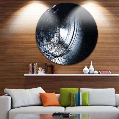 Designart 3D Abstract Art Black Spiral Abstract Circle Metal Wall Art