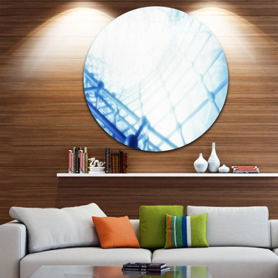 Designart 3D Abstract Art Blue Pattern Abstract Circle Metal Wall Art