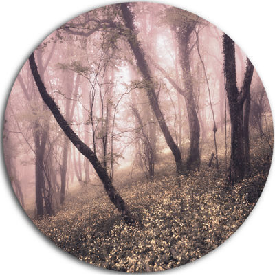 Designart Vintage Autumn Landscape Contemporary Circle Metal Wall Art