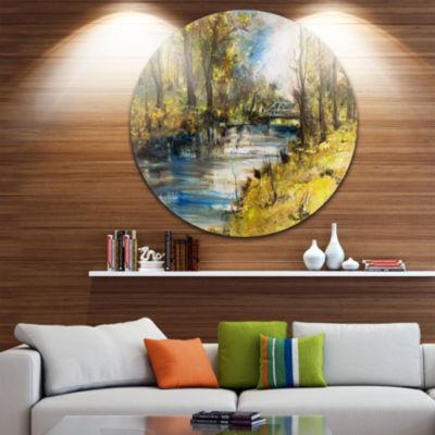 Designart Bridge Over River Oil Painting LandscapePainting Circle Metal Wall Art
