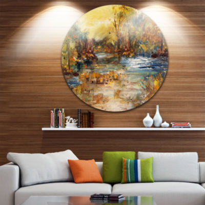 Designart River in Forest Oil Painting Landscape Painting Circle Metal Wall Art