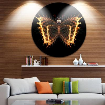 Designart Fire Fractal Butterfly in Dark AbstractCircle Metal Wall Art