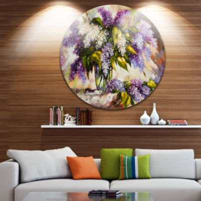 Designart Lilac Bouquet in a Vase Floral PaintingCircle Metal Wall Art